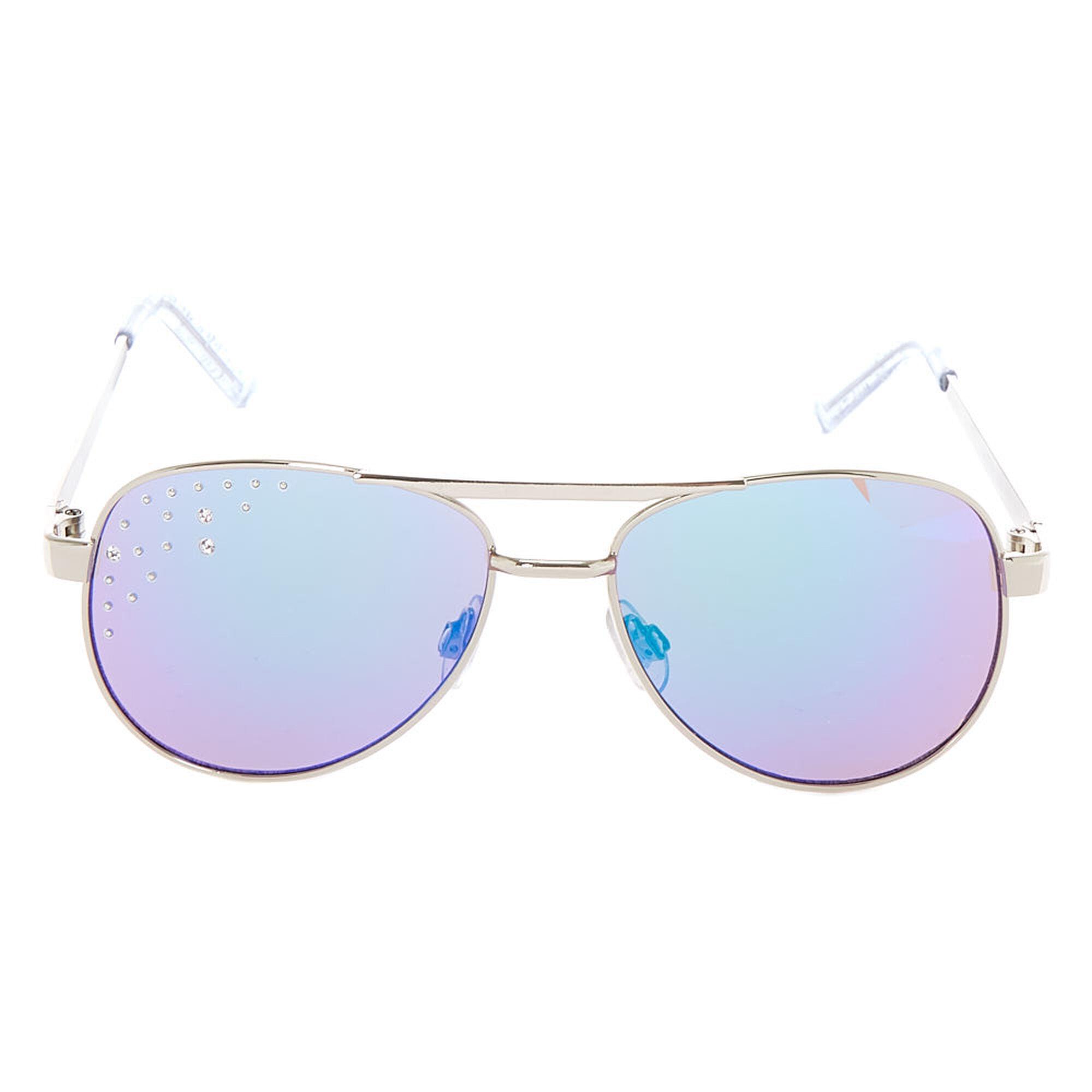 3e21457eae ... Claire  39 s Club Glitter Aviator Sunglasses - Silver