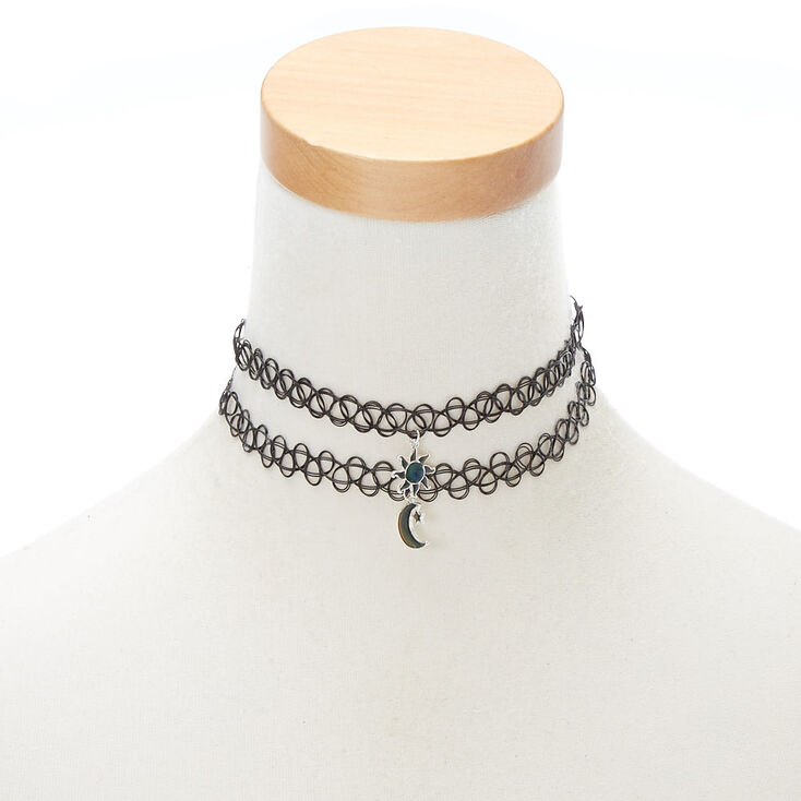 Best Friends Sun and Moon Mood Choker Necklaces - 2 Pack,