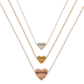 Best Friends Mother Daughter Heart Pendant Necklaces - 3 Pack,