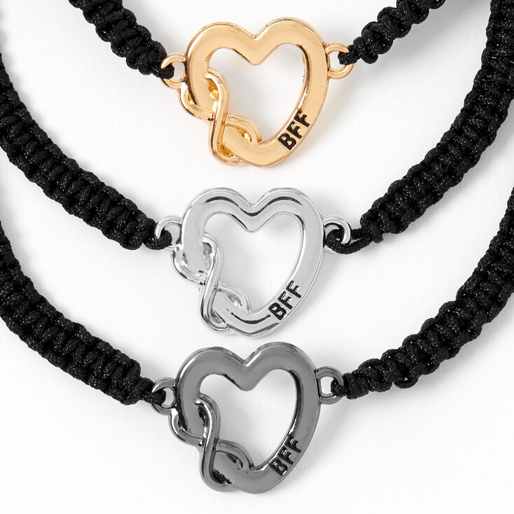 Mixed Metal Infinity Heart Adjustable Friendship Bracelets - 3 Pack,