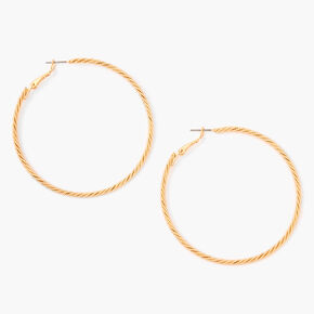 Gold 60MM Laser Cut Twisted Hoop Earrings,