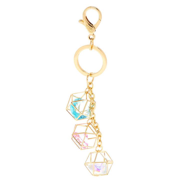 Geometric Crystal Keychain - Gold,