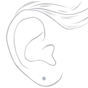 Silver Cubic Zirconia Round Stud Earrings - 3MM,