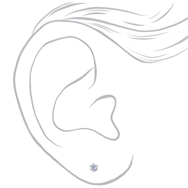 Silver Cubic Zirconia Round Stud Earrings - 3MM,