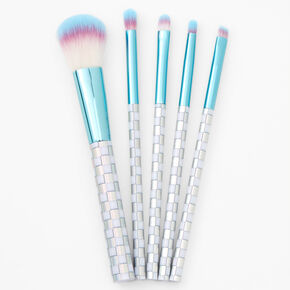Sky Brown™ Holographic Checkered Makeup Brushes - Silver,