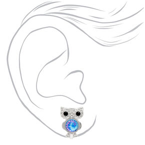 Silver Tie Dye Owl Clip On Stud Earrings,
