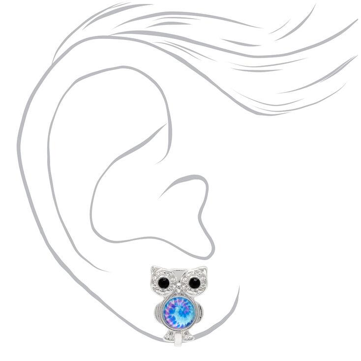 Silver Tie Dye Owl Clip On Stud Earrings,
