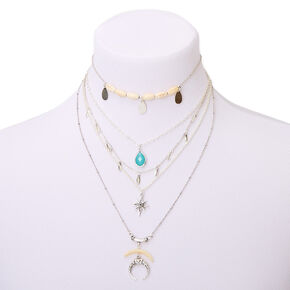 Ras-du-cou multi-rangs style Western couleur argentée - Turquoise,