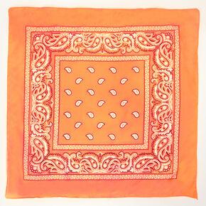 Paisley Bandana Headwrap - Neon Coral,