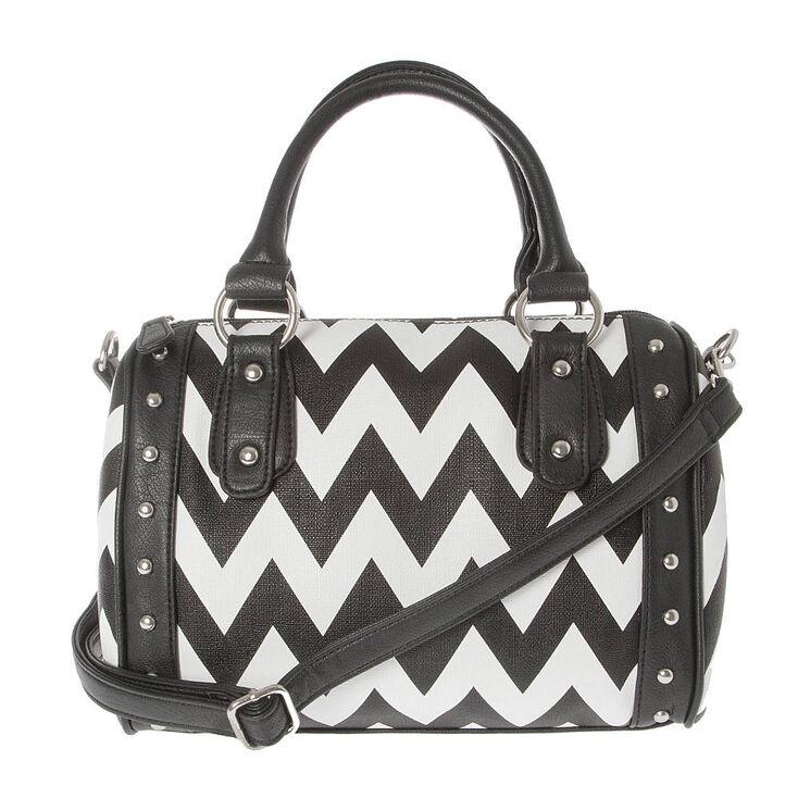 Black And White Chevron Studded Satchel Handbag