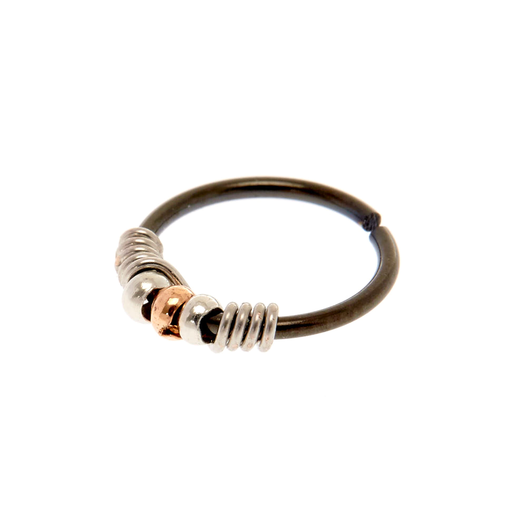 20g Black Silver Coil Nose Ring Claire S