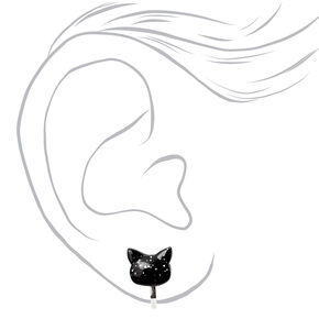 Silver Glitter Cat Clip On Stud Earrings - Black,