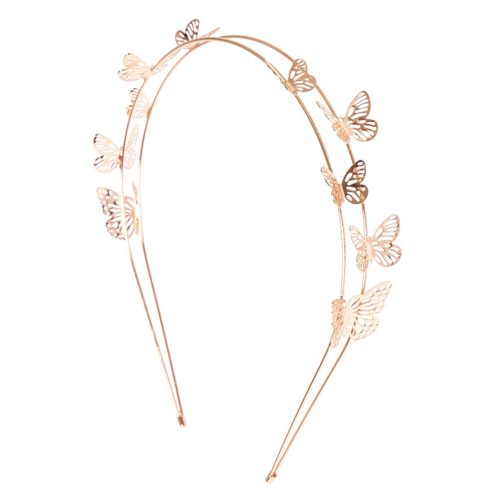 Rose Gold Double Row Butterfly Headband  036233166ce