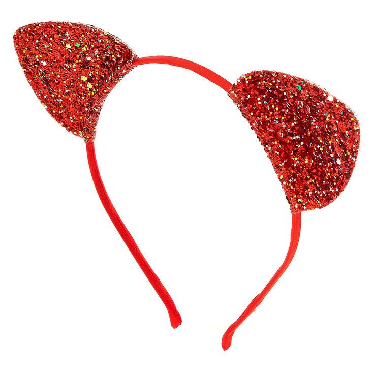 Iridescent Glitter Cat Ears Headband - Red,