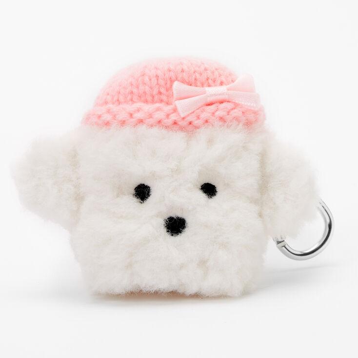 Étui pour écouteurs chien blanc en fausse fourrure - Compatible avec les AirPods® de Apple,