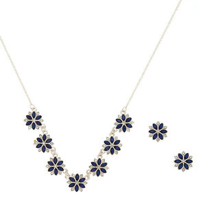 Winter Floral Jewellery Set - Navy Blue, 2 Pack,