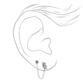 Clous d'oreilles avec chaîne feuilles et strass couleur argentée,