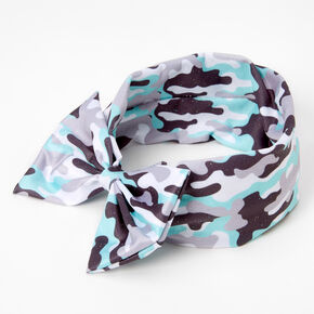 Claire's Club Camo Print Bow Headwrap - Mint,