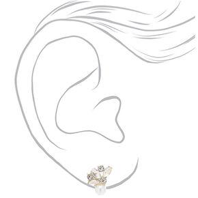 Rhinestone Fan Pearl Stud Earrings,