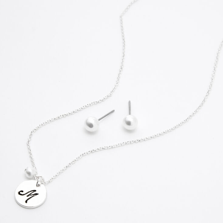 Silver Initial Pearl Jewellery Set - M, 2 Pack,