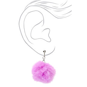 "Silver 1.5"" Pom Pom Clip On Drop Earrings - Purple,"