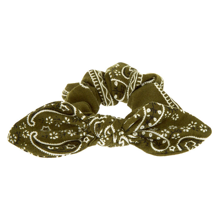 Small Bandana Knotted Bow Hair Scrunchie - Olive Green,