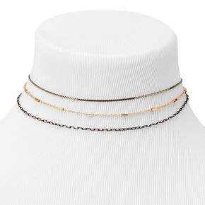 Dainty Shimmer Chain Choker Necklaces - 3 Pack,