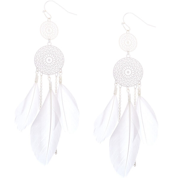 "Claire's - silver 3"" feather dreamcatcher drop earrings - 1"