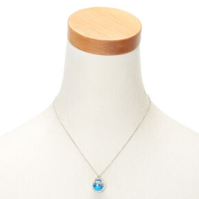 Glitter Flower Globe Pendant Necklace - Blue,