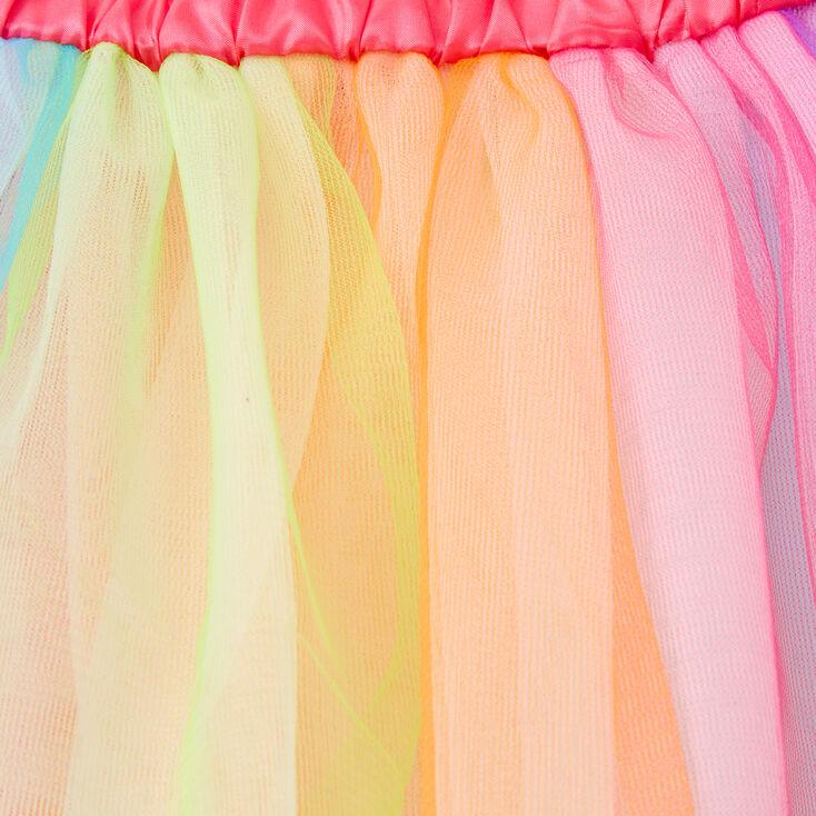 Satin Trim Tulle Tutu - Rainbow,
