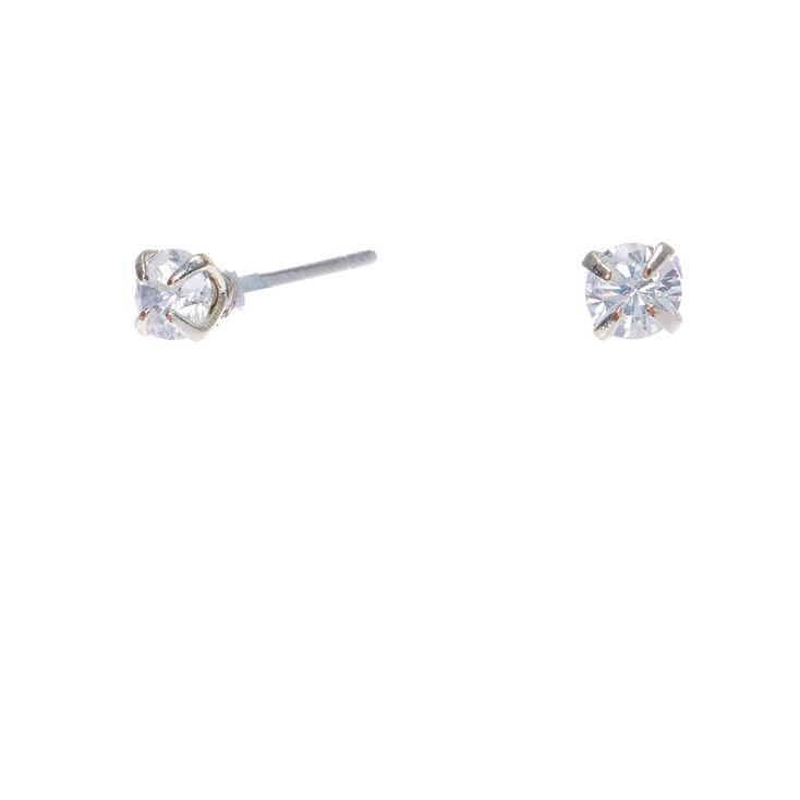 Silver Cubic Zirconia 3MM Round Stud Earrings,
