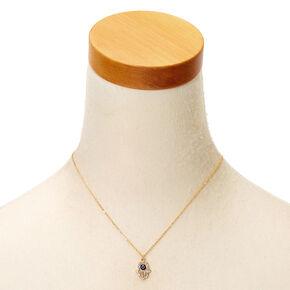 Gold Hamsa Hand Pendant Necklace - Blue,