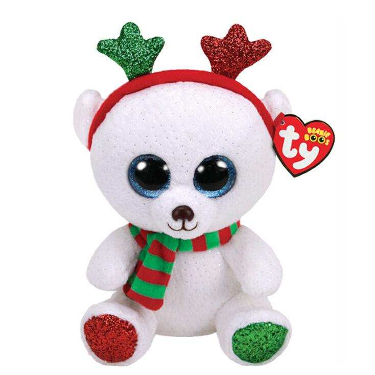 Christmas Bear.Ty Beanie Boo Medium Frost The Christmas Bear Soft Toy