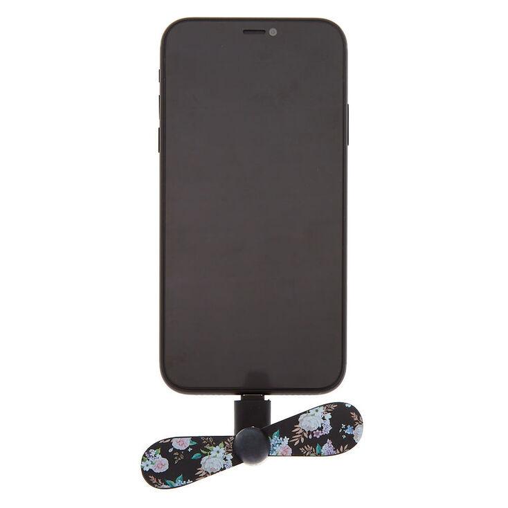 Floral Phone Fan - Black,
