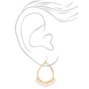 """Gold 2.5"""" Pearl Chandelier Drop Earrings,"""