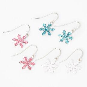 Pendantes flocon de neige à paillettes 2cm couleur argentée - Lot de 3,