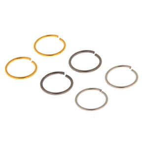 Mixed Metal 20G Solid Nose Rings - 6 Pack,