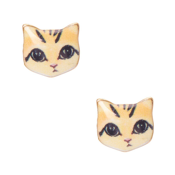 Claire's - purrfect cat face stud earrings - 1