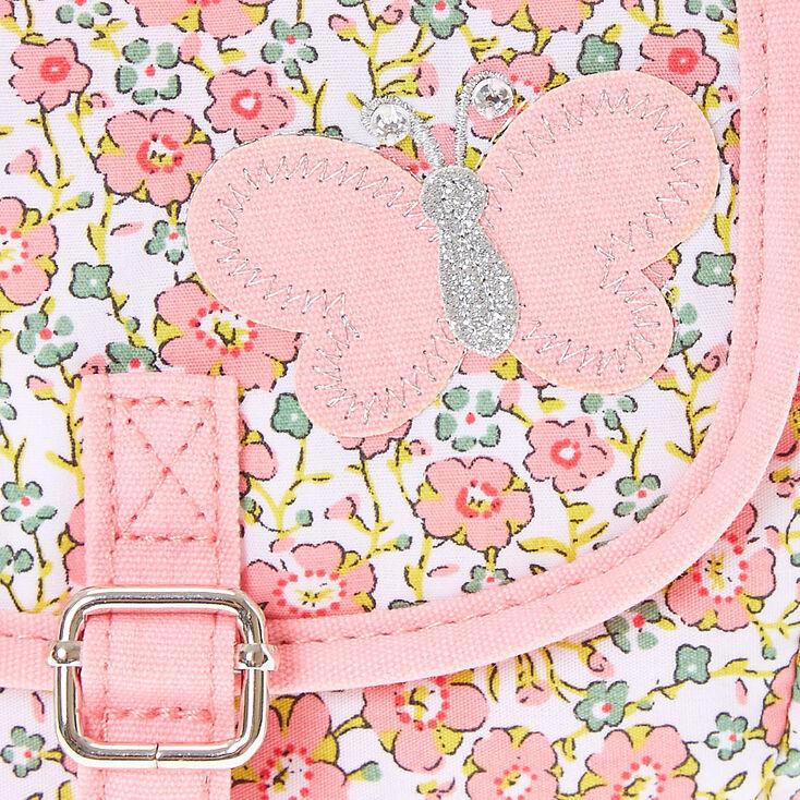 Sac à bandoulière avec imprimés floraux roses,