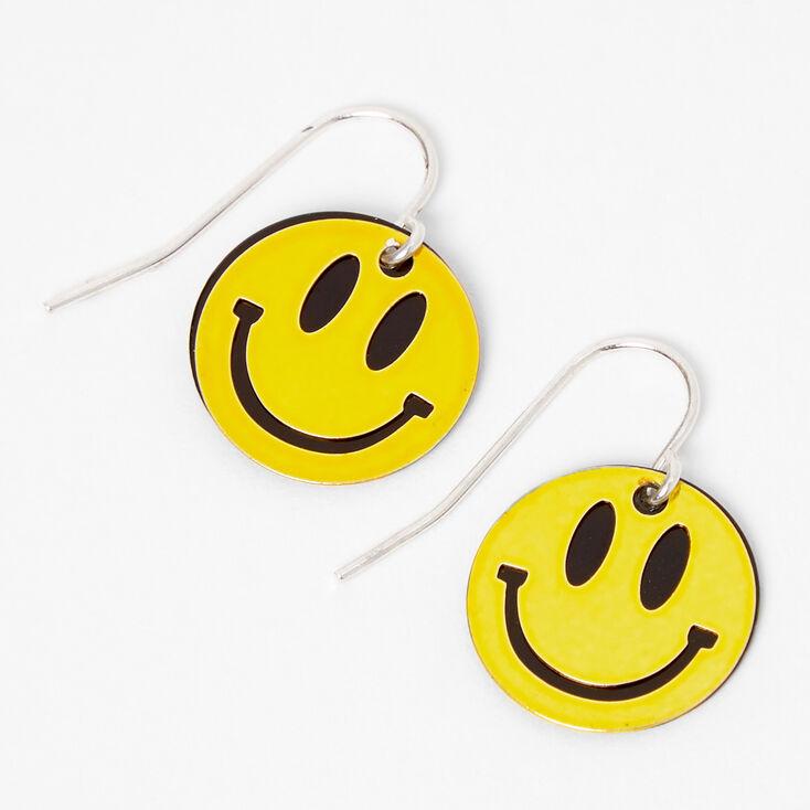 Yellow Smiley Face Drop Earrings,