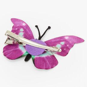 Barrette avec papillon violet et vert menthe,