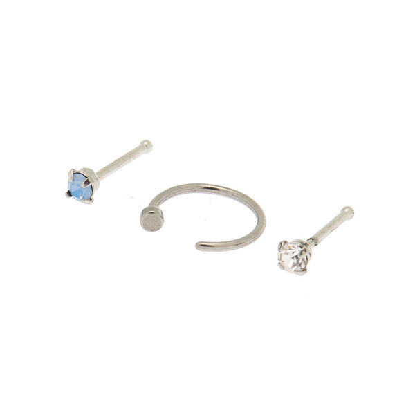 Claire's - 20g cloudy stone nose studs + ring - 1