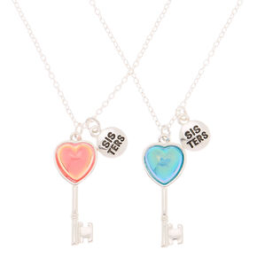 Sisters Heart Key Pendant Necklaces - 2 Pack,
