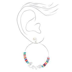 Silver Love Script Rainbow Disc Hoop Earrings,