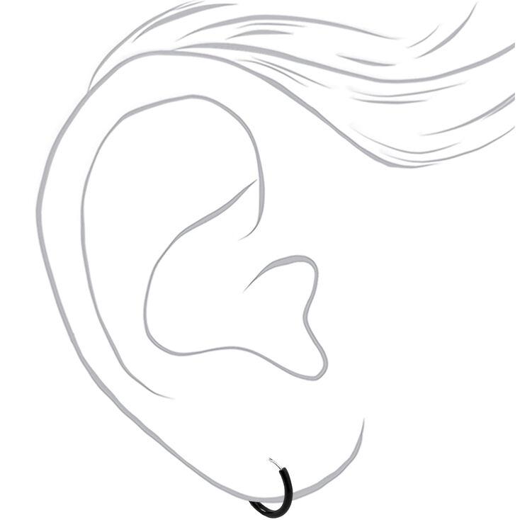 Sterling Silver 10MM Hoop Earrings - Black,