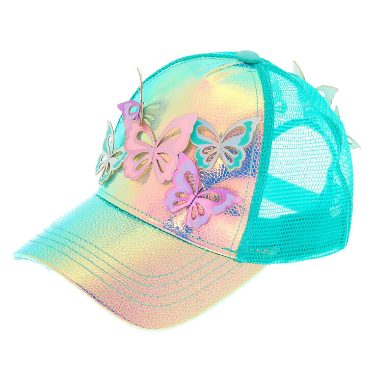 1af0a301536a0 Holographic Butterfly Baseball Cap - Mint