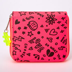 Neon Graffiti Mini Zip Wallet - Pink,
