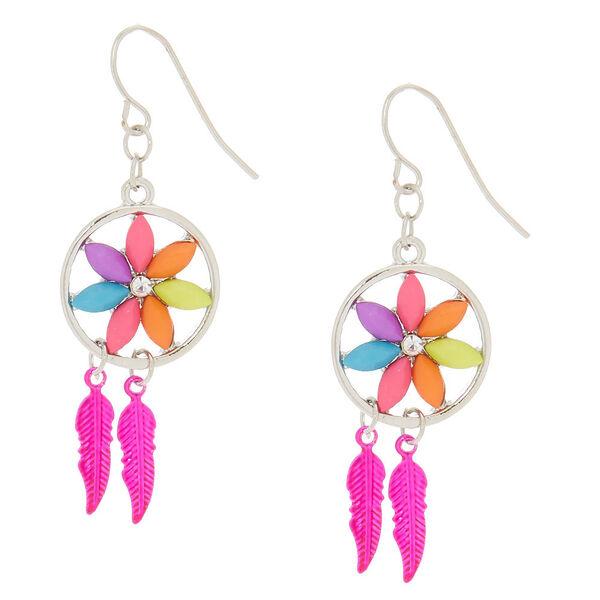 "Claire's - 1"" flower dreamcatcher drop earrings - 1"