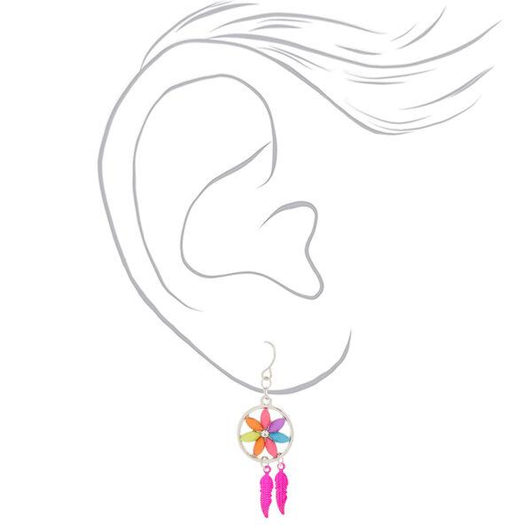 "Claire's - 1"" flower dreamcatcher drop earrings - 2"
