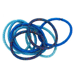Glitter Hair Ties - Blue, 10 Pack,
